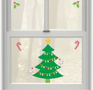 Christmas Tree Gel Cling Decals 8ct