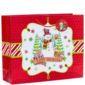 Metallic Winter Friends Christmas Gift Bag