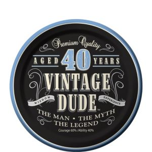 Vintage Dude 40th Birthday Dessert Plates 8ct