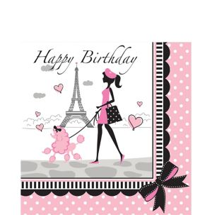 Pink Paris Birthday Lunch Napkins 16ct