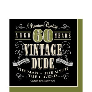 Vintage Dude 60th Birthday Lunch Napkins 16ct