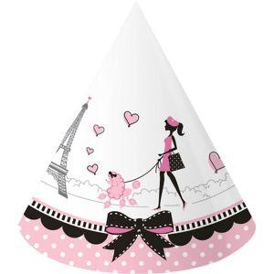 Pink Paris Party Hats 8ct