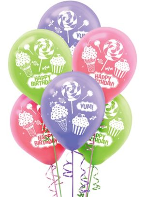 Happy Birthday Balloons 6ct - Candy Shoppe
