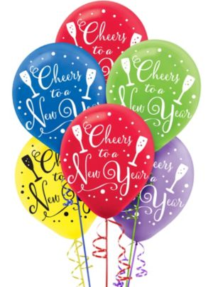 Colorful Cheers to a New Year Balloons 15ct