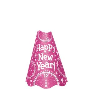 Glitter Pink Happy New Year Party Hat