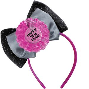 Pink & Black Happy New Year Bow Headband
