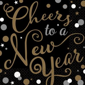 Cheers to a New Year Lunch Napkins 36ct - Bubbly Celebration