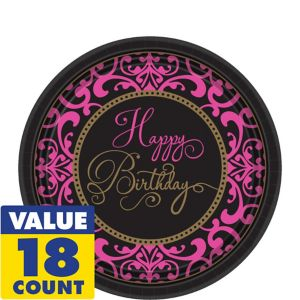 Damask Birthday Dessert Plates 18ct - Fabulous Celebration