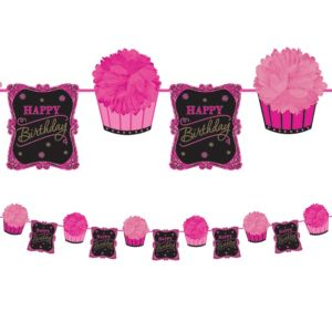 Cupcake Birthday Fluffy Garland Deluxe - Born to Be Fabulous