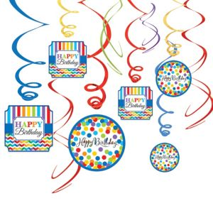 Rainbow Dot & Chevron Birthday Swirl Decorations 12ct