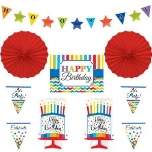 Rainbow Dot & Chevron Birthday Room Decorating Kit 10pc