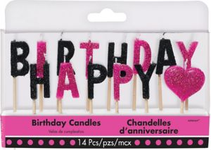 Glitter Black & Pink Happy Birthday Toothpick Candle Set 14pc