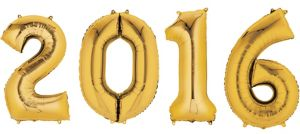 Gold 2016 Number Balloons 4pc