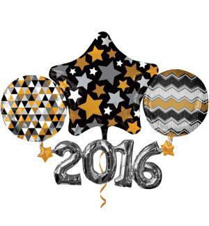 Black, Gold & Silver 2016 Balloon - Giant