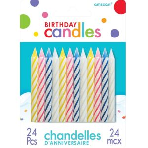 Multicolor Bright Spiral Birthday Candles 24ct