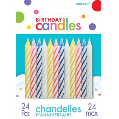 Assorted Candy Stripe Birthday Candles 24ct