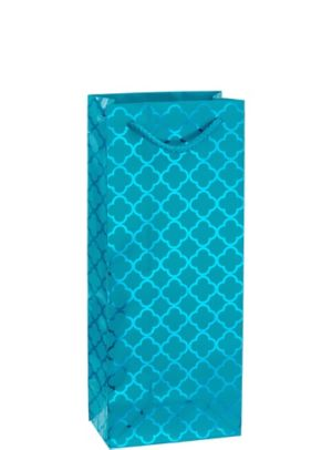 Metallic Caribbean Blue Moroccan Bottle Bag