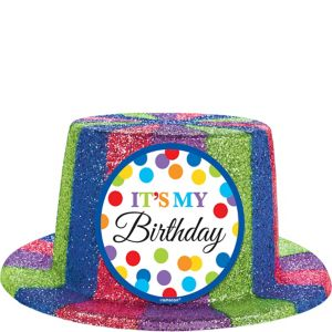 Glitter Rainbow Dot Birthday Top Hat