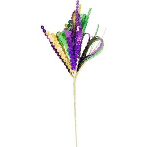 Sequin Mardi Gras Spray Stem