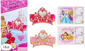 Disney Princess Valentine Exchange Cards with Tiaras 16ct