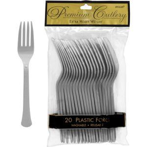 Silver Premium Plastic Forks 20ct