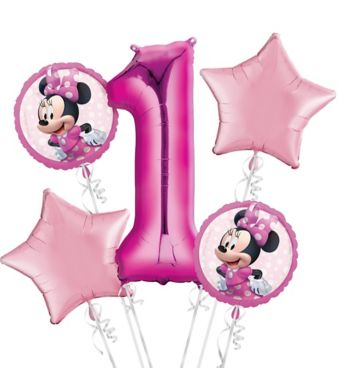 Minnie Mouse 1st Birthday Balloon Bouquet 5pc