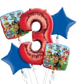 PAW Patrol 3rd Birthday Balloon Bouquet 5pc
