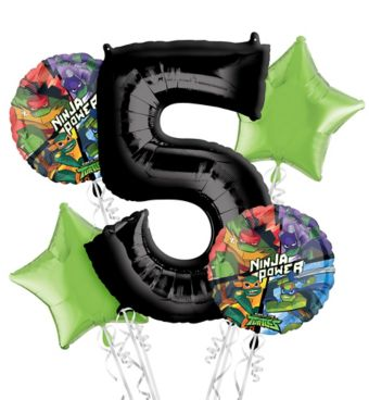 Teenage Mutant Ninja Turtles 5th Birthday Balloon Bouquet 5pc