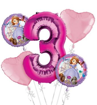 Sofia the First 3rd Birthday Balloon Bouquet 5pc
