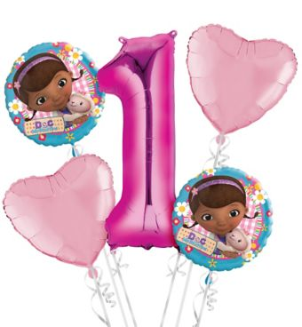 Doc McStuffins 1st Birthday Balloon Bouquet 5pc