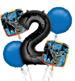 Batman 2nd Birthday Balloon Bouquet 5pc