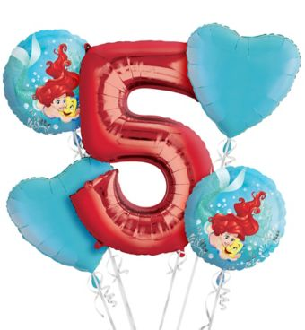 Little Mermaid 5th Birthday Balloon Bouquet 5pc