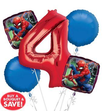 Spider-Man 4th Birthday Balloon Bouquet 5pc