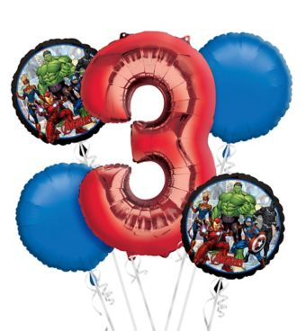 Avengers 3rd Birthday Balloon Bouquet 5pc