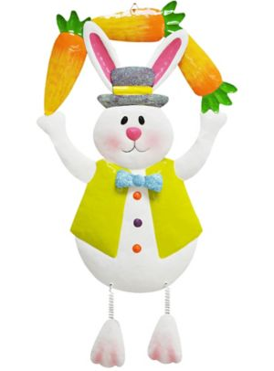 Glitter Hanging Metal Easter Bunny