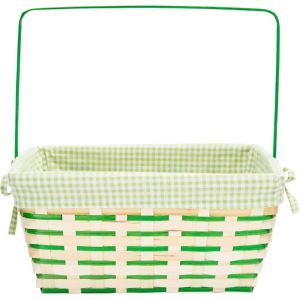 Green Gingham Picnic Basket