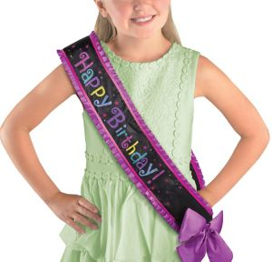 Purple Birthday Sash Deluxe