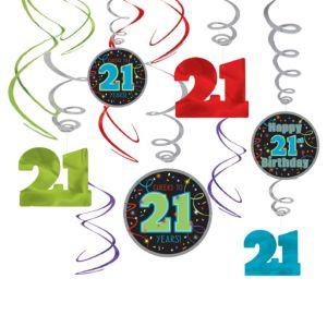 Brilliant 21st Birthday Swirl Decorations 12ct