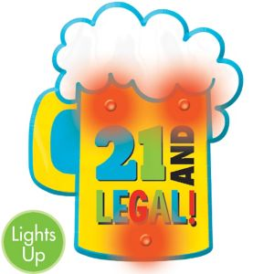 Light-Up Beer Mug 21st Birthday Button
