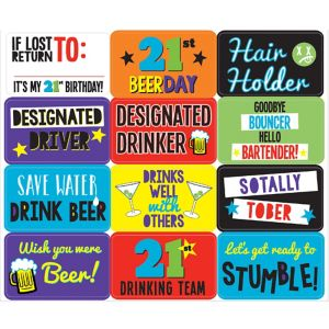 Funny 21st Birthday Stickers 12ct