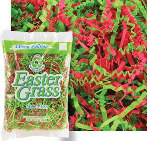 Green & Pink Paper Easter Grass