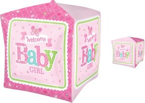 Girl Welcome Baby Balloon - Cubez Welcome Little One