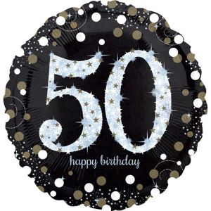 50th Birthday Balloon - Sparkling Celebration
