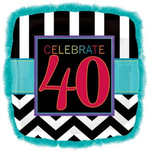 40th Birthday Balloon - Boa Square Chevron