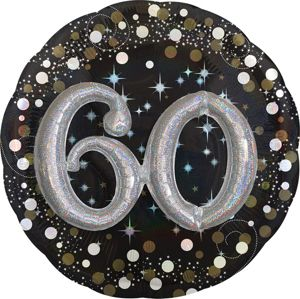 60th Birthday Balloon - 3D Sparkling Celebration