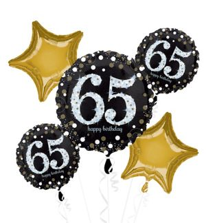 65th Birthday Balloon Bouquet 5pc - Sparkling Celebration