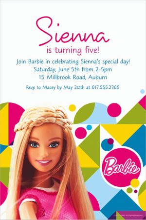 Custom Barbie Sparkle Invitation