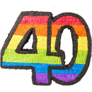 Rainbow Number 40 Pinata