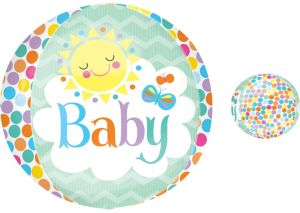 Baby Shower Balloon - Orbz Polka Dot Baby Sun