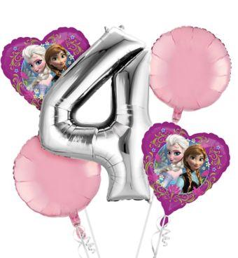 Frozen 4th Birthday Balloon Bouquet 5pc